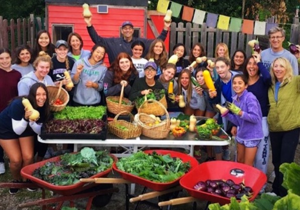 Girls Tennis players at the Glencoe Community Garden    | Schroeder