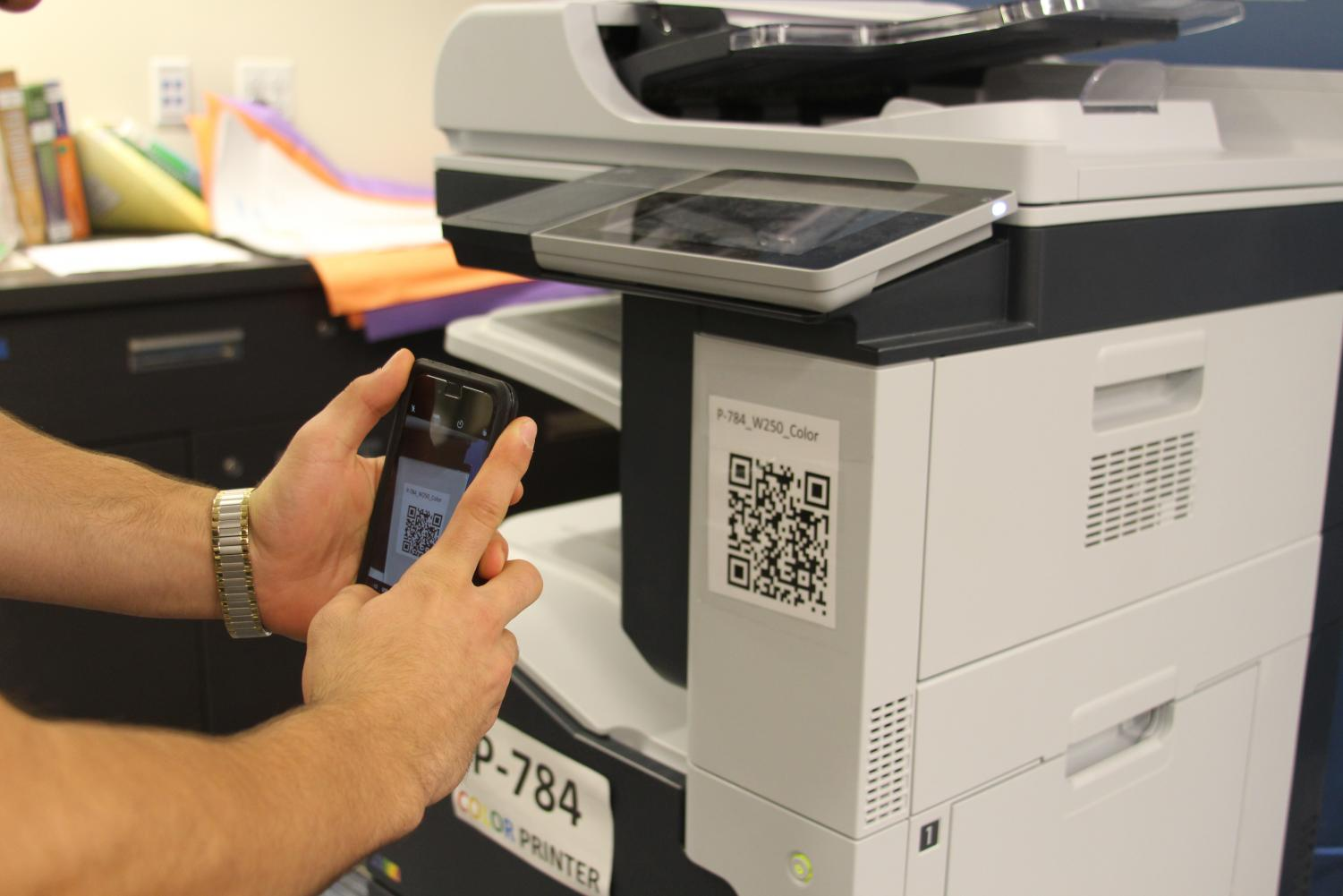 The new printers in the library feature QR codes that can be scanned to print faster and easier | Pearlman