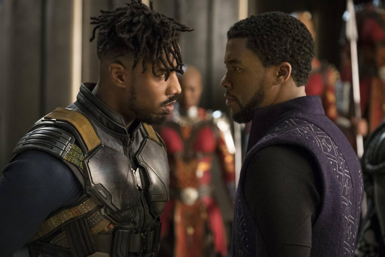 Michael B. Jordan (left) and Chadwick Boseman (right) play their roles as Eric Killmonger and T'Challa | AP