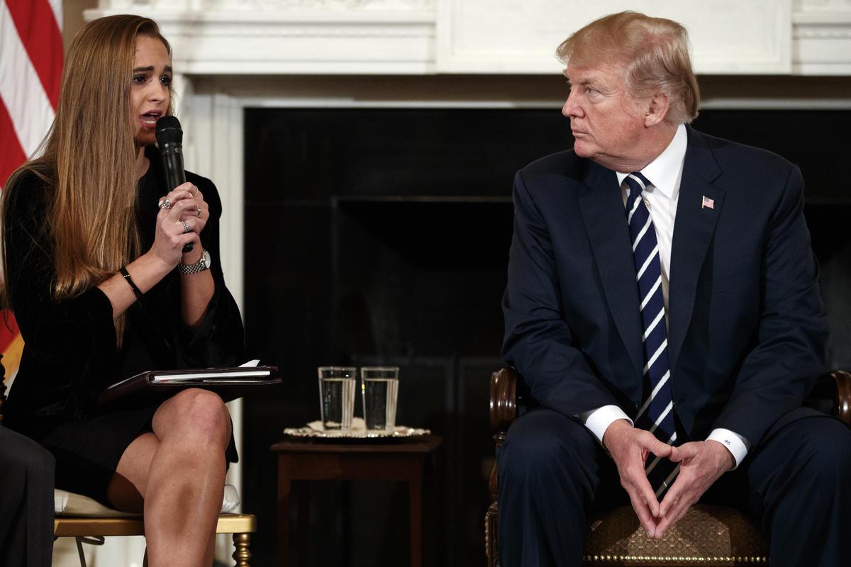Cordover and classmates met President Trump on Feb. 21   AP