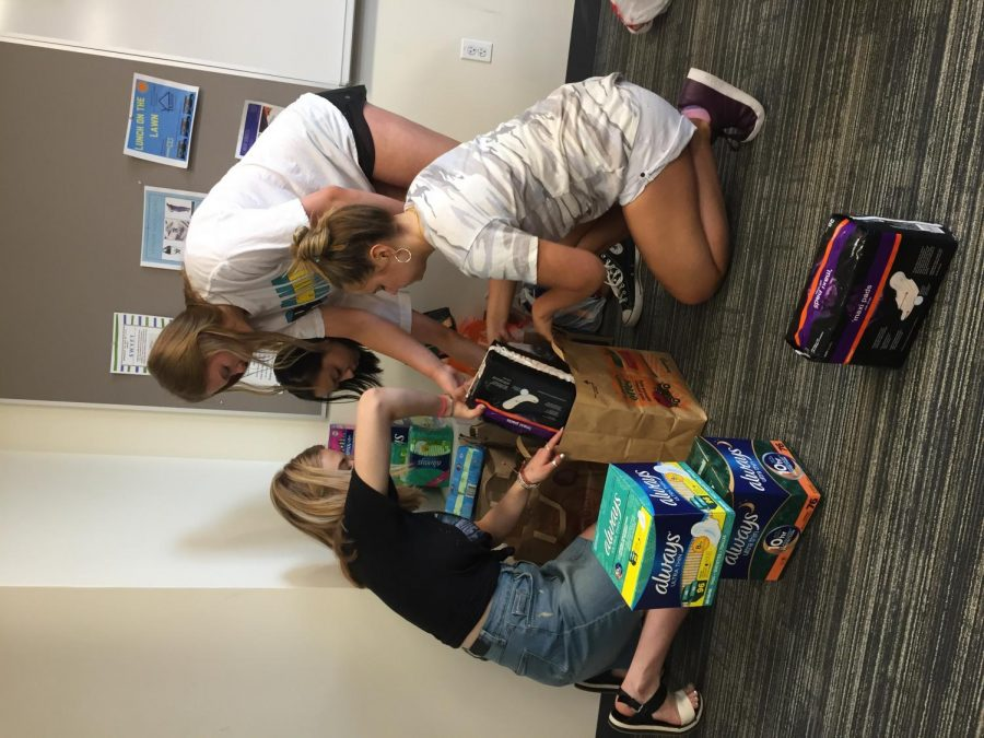 Girls in advisery organizing products to be taken to I Support the Girls