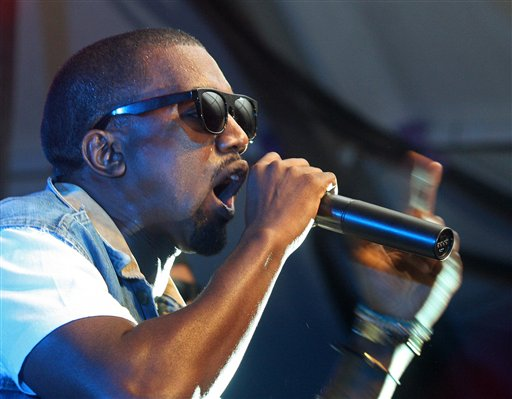 Kanye West performs at the Levis/Fader Fort during the SXSW Music Festival in Austin, Texas on Saturday, March 21, 2009.(AP Photo/Jack Plunkett)