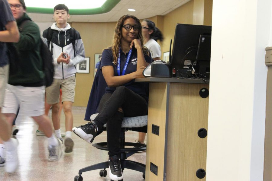 Security guard Marva Smith watches the front entrance after school | Pearlman