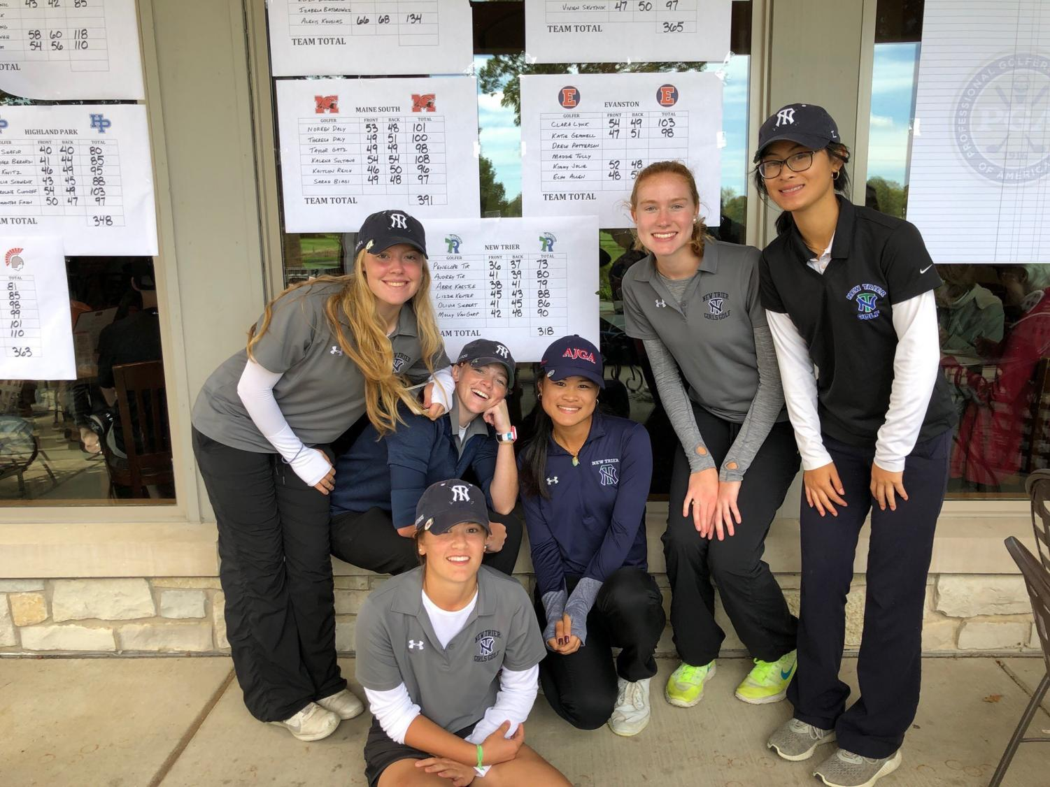 The six varsity golfers celebrate a dominant conference win