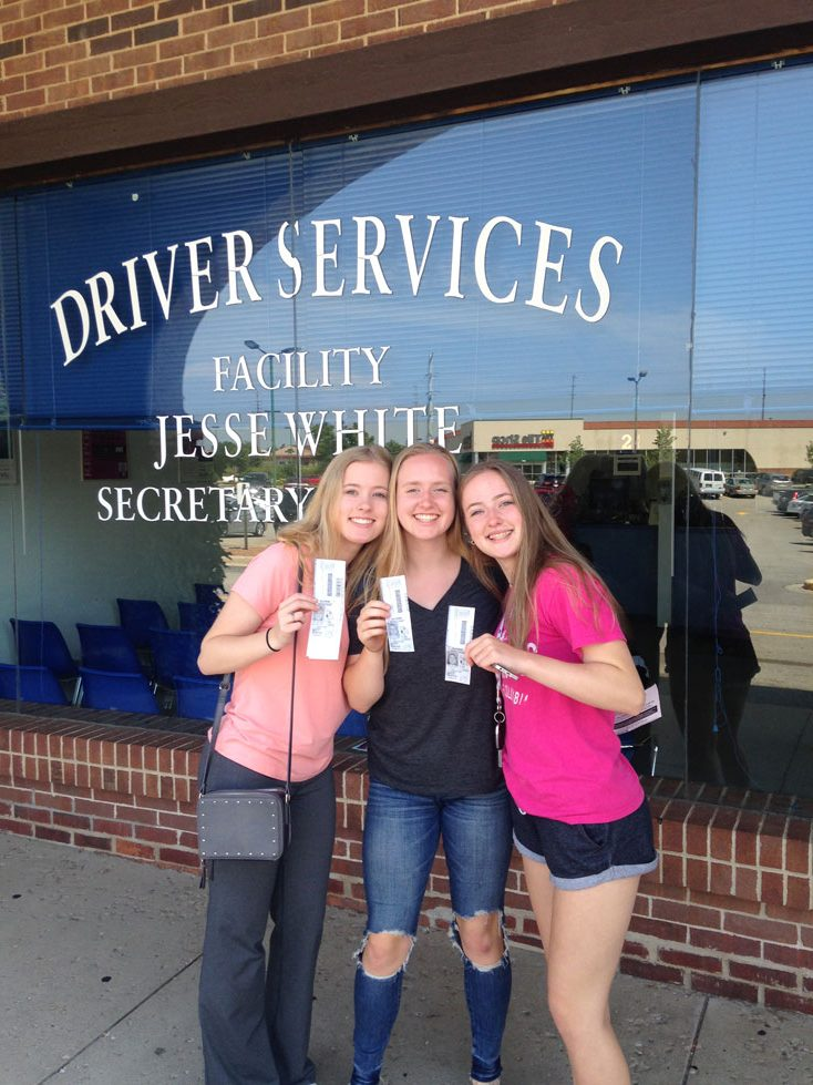 Bridget, Kelly, and Sabrina Hagedorn getting their licenses