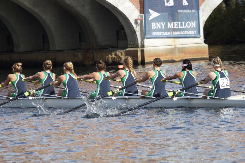 The girls varsity eight rowing at the regatta.