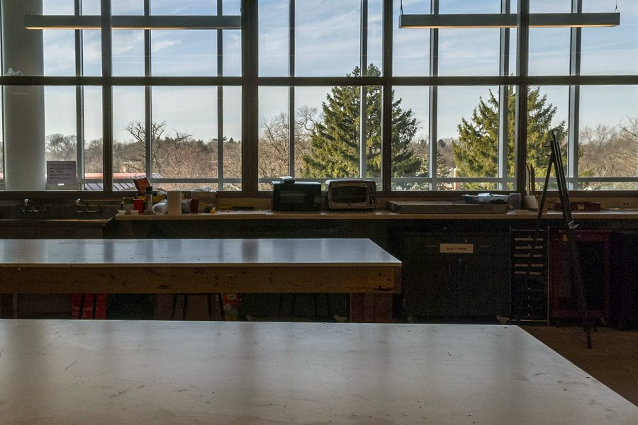 Art classrooms on the fourth floor have abundant natural light
