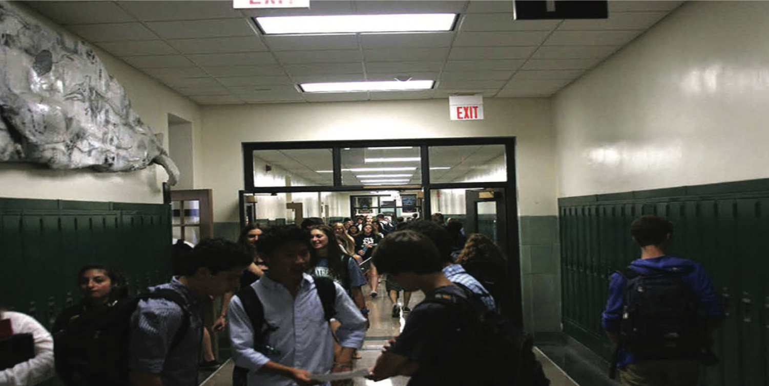 Students congregate in the hallways during passing periods