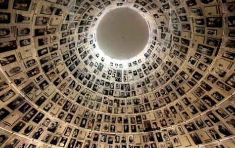 PhotosofHolocaustvictimsframetheceilingoftheHallofNamesatYadVashem,theHolocaustMuseuminJerusalem. It is a memorial to each and every Jew who perished in the Holocaust