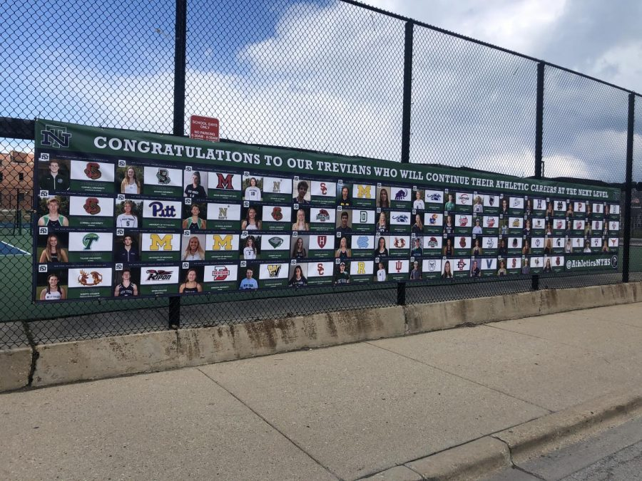 New Trier's Athletic Department hung this banner to honor their college-committed athletes