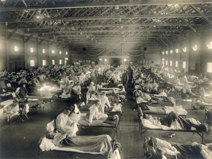 Emergency hospital in Camp Funston, Kansas during H1N1 influenza epidemic, circa 1918