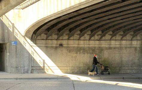 A woman in a mask walks her dog under the bridge on Winnetka Avenue