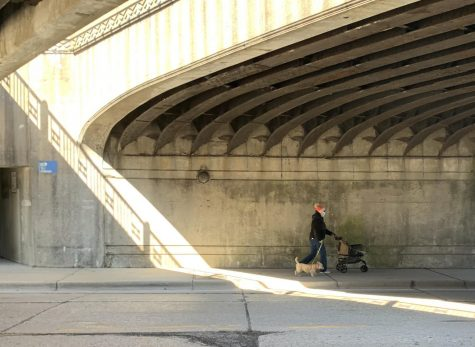 A woman in a mask walks her dog under the bridge on Winnetka Avenue