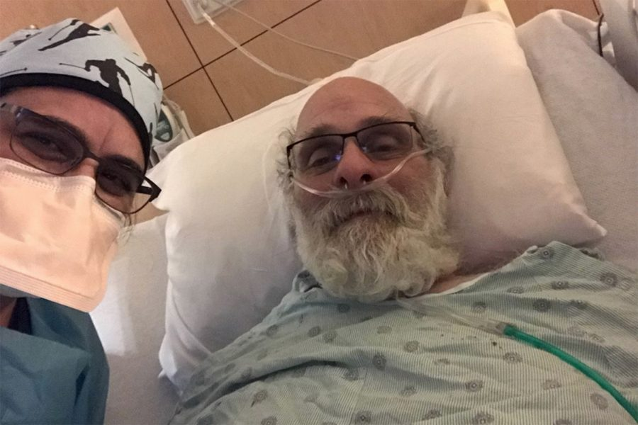Dr. Halleh Akbarnia (left) poses with Catania (right) shortly before he was discharged