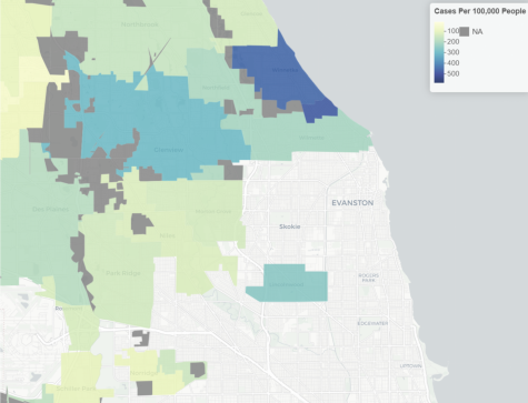 The COVID-19 rates map provided by the Cook County Department of Public Health as of 4/8