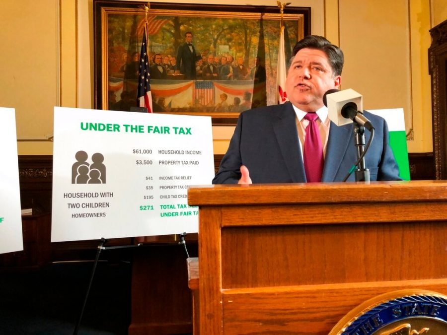 On Mar. 7, 2019, Governor J.B. Pritzker outlines his plan to change Illinois' flat-rate state income tax to a graduated structure at the State Capital in Springfield