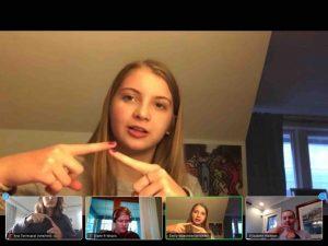 Emily Waechtler demonstrates the sign for