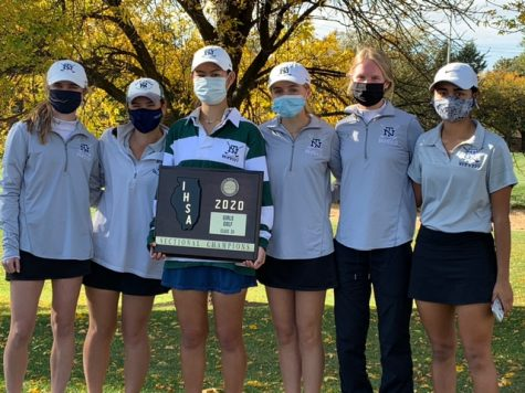 The Varsity girls golf team after winning sectionals