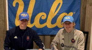 Seniors Nate and Charlie Crockford signing their National Letter of Intent for The University of California, Los Angeles' men's soccer team