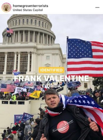 The Jan. 16 post from @homegrownterrorists announced the identification of Frank Valentine, who participated in the insurrection. Other slides of the post include Valentine's Instagram page and a video of him on the day of the attempted coup