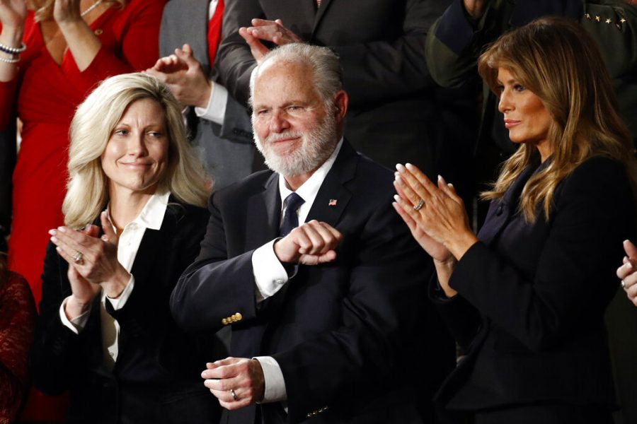 Rush Limbaugh with first Lady Melania Trump and his wife Kathryn during former President Donald Trumps State of the Union address on Feb. 4, 2020. Limbaugh, the talk radio host who became the voice of American conservatism, died on Feb.17