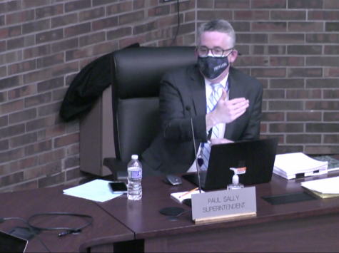 Superintendent Paul Sally answers questions about the logistics of the new four day option during the board meeting on Feb. 16