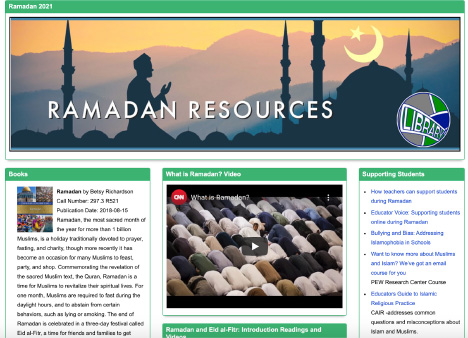 Guides like this one, found on the school library website, can teach non-Muslims about Ramadan through interactive videos, articles and slides