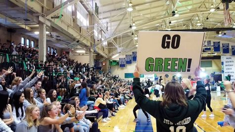 Students celebrate at a New Trier pep rally, 2019