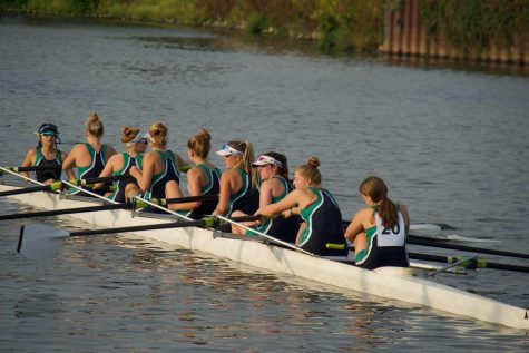 Varsity rowers during a brief rest at the regatta, 2021