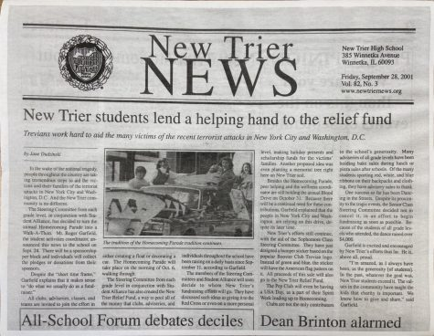 Front page of the New Trier News newspaper on September 28, 2001